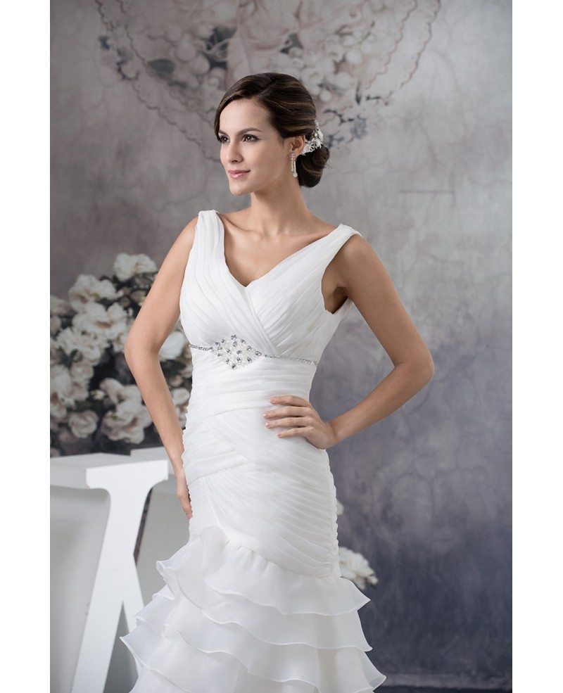 Pleated crossed v neck organza cascading ruffles mermaid for Cascading ruffles wedding dress