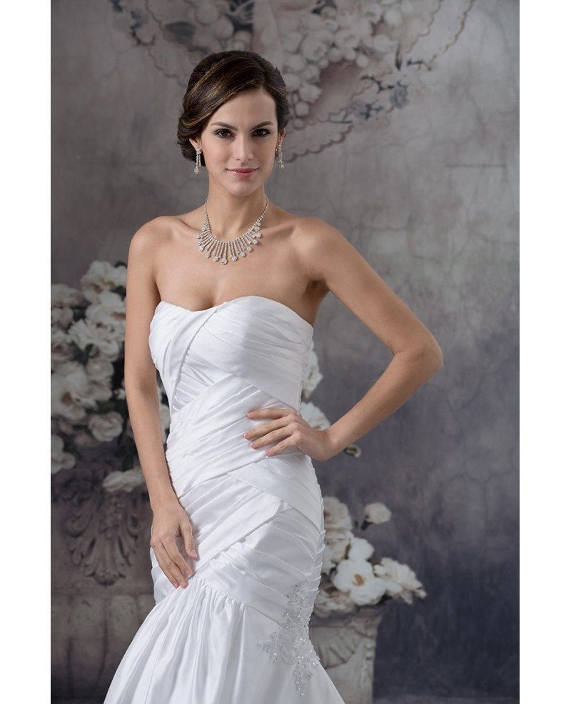 White Satin Cross Pleated Long Mermaid Wedding Dress