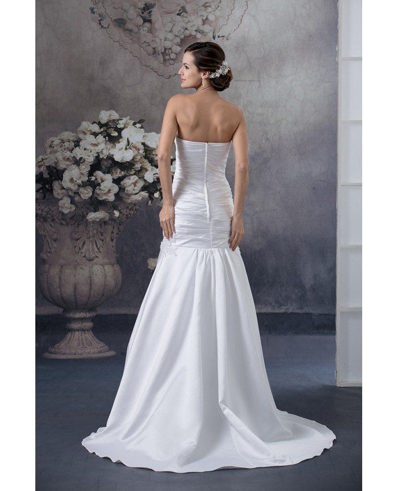 White Satin Cross Pleated Long Mermaid Wedding Dress