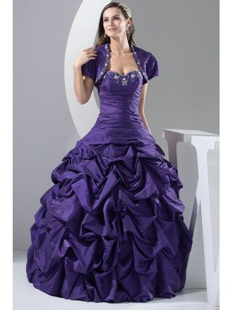 Custom Grape Purple Taffeta Ballgown Formal Dress with Jacket