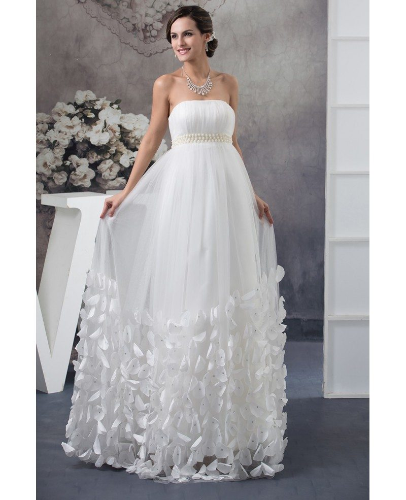 Pregnant Wedding Dresses: Strapless Beaded Pearls Tulle Maternity Wedding Dress With