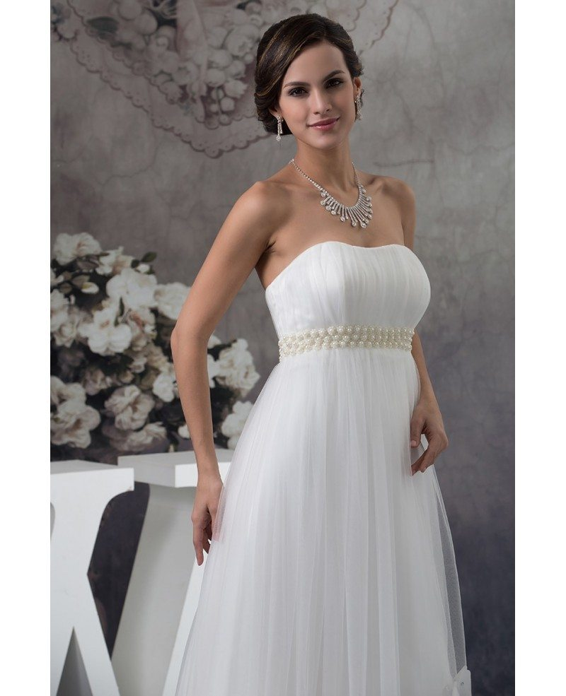 Maternity Wedding Gowns: Strapless Beaded Pearls Tulle Maternity Wedding Dress With