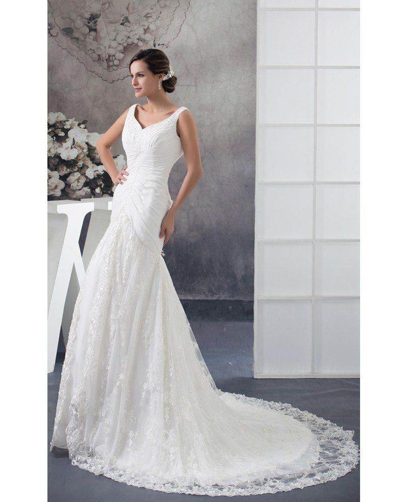Custom Lace Mermaid Fitted Wedding Dress Long Train