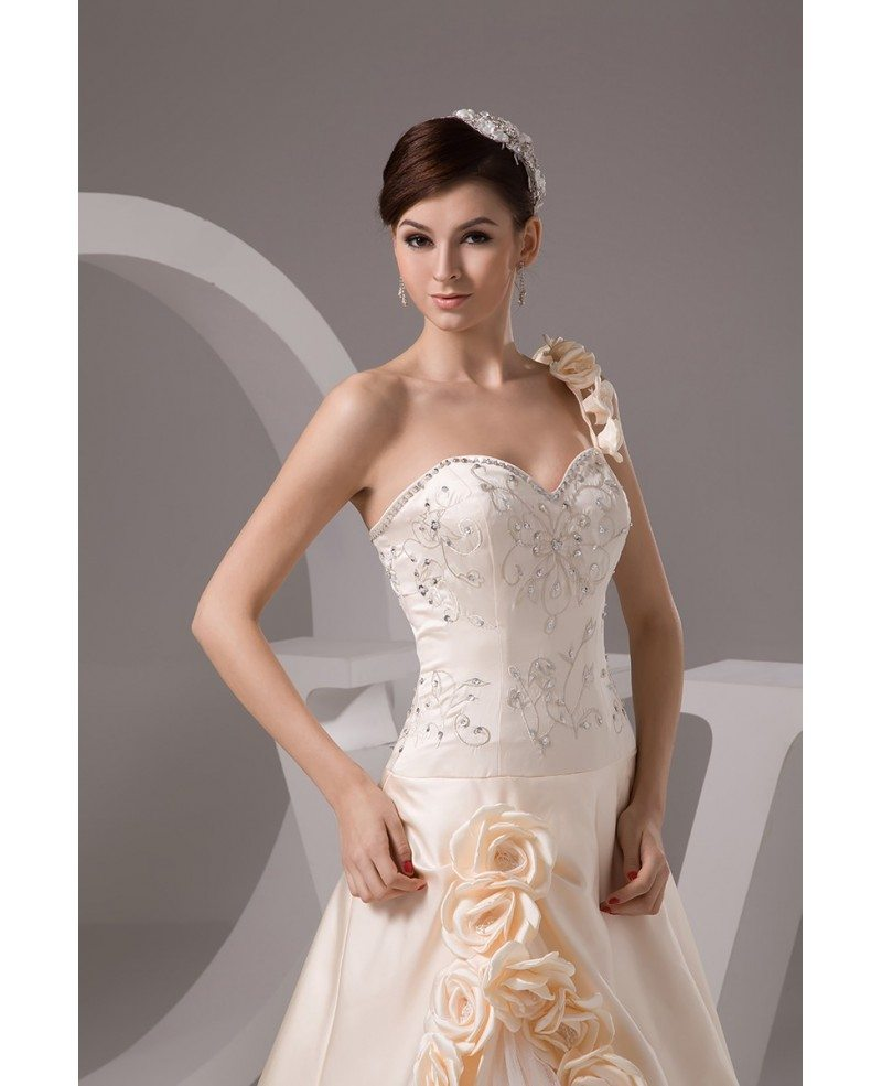 Champagne One Shoulder Embroidered Flowers Wedding Dress