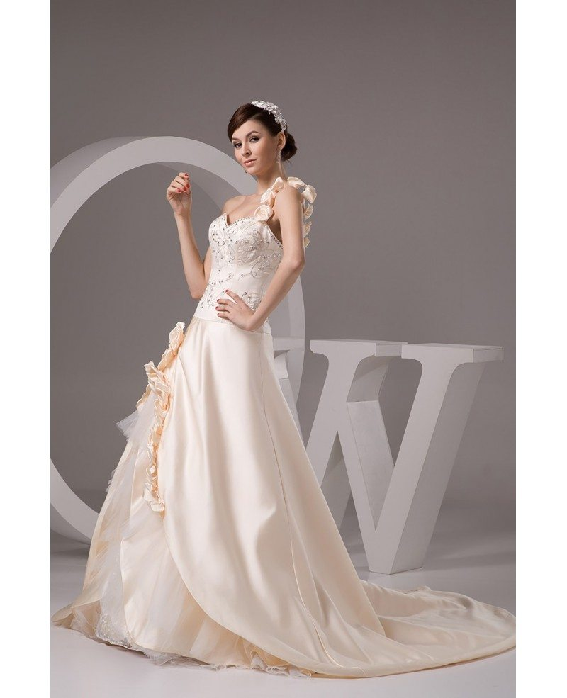 Champagne one shoulder embroidered flowers wedding dress for Flower embroidered wedding dress