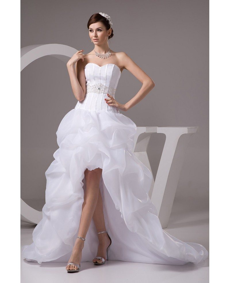 Corset High Low Wedding Dresses Ruffles With Train Popular