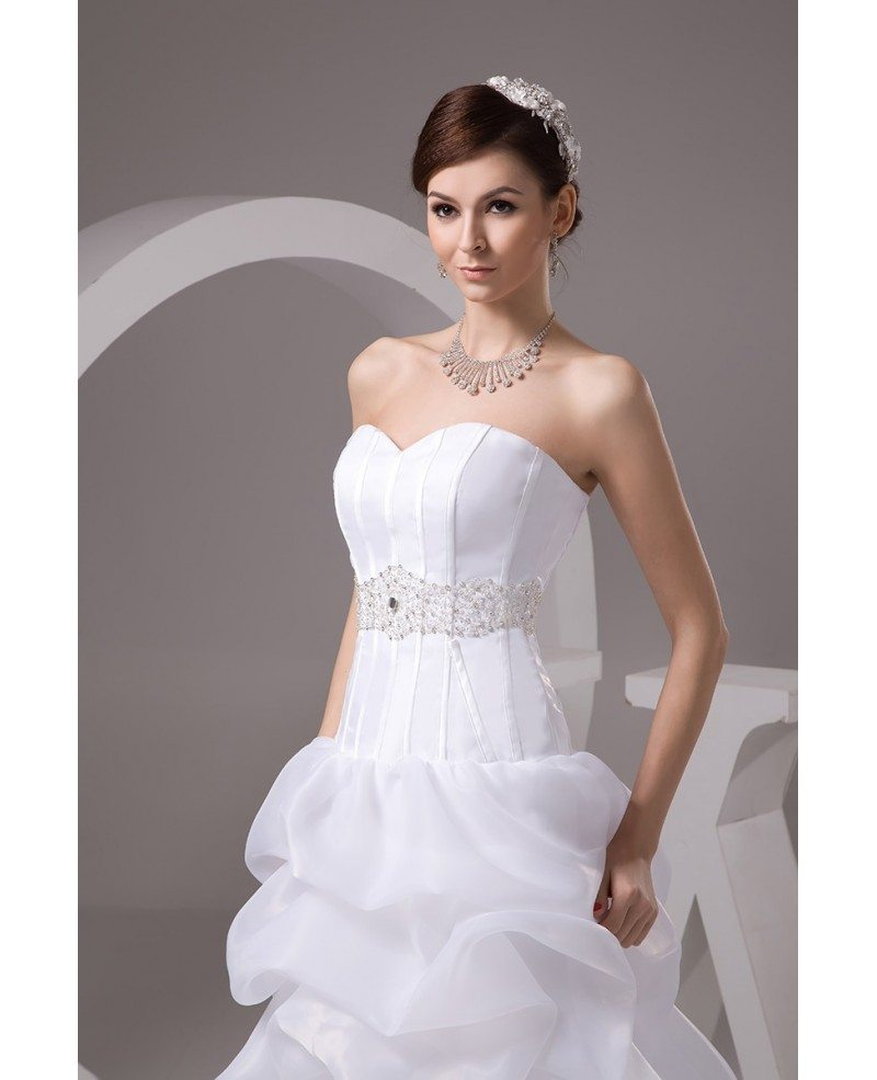 Corset High Low Wedding Dresses Ruffles With Train Popular