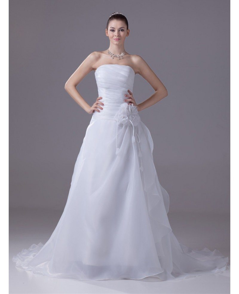 Aline Wedding Gown: Strapless Pleated Organza Aline Wedding Dress With Flower