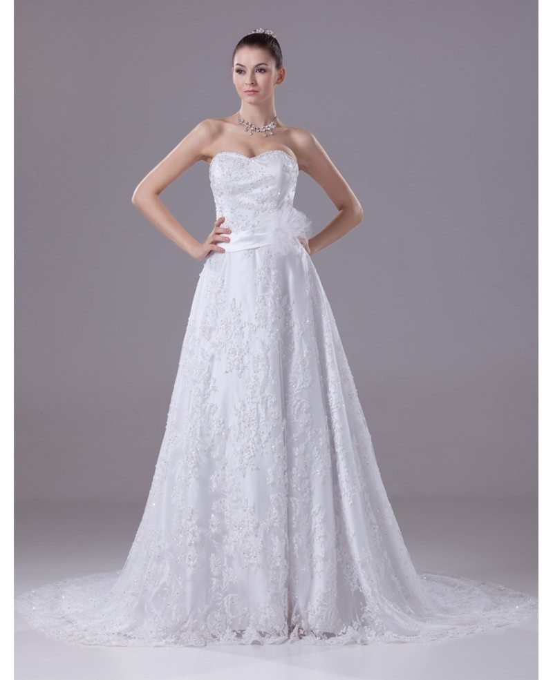 Sequined Full Lace Aline Wedding Dress with Sash #OPH1112 $260.9 ...