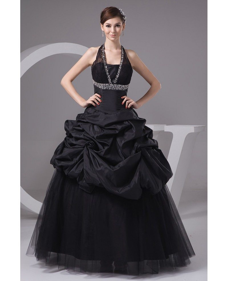 Gothic sequined long halter black tulle wedding dress for Black tulle wedding dress