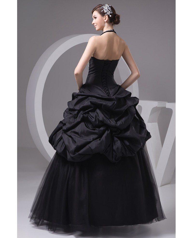 Long Black Dresses For Weddings: Gothic Sequined Long Halter Black Tulle Wedding Dress