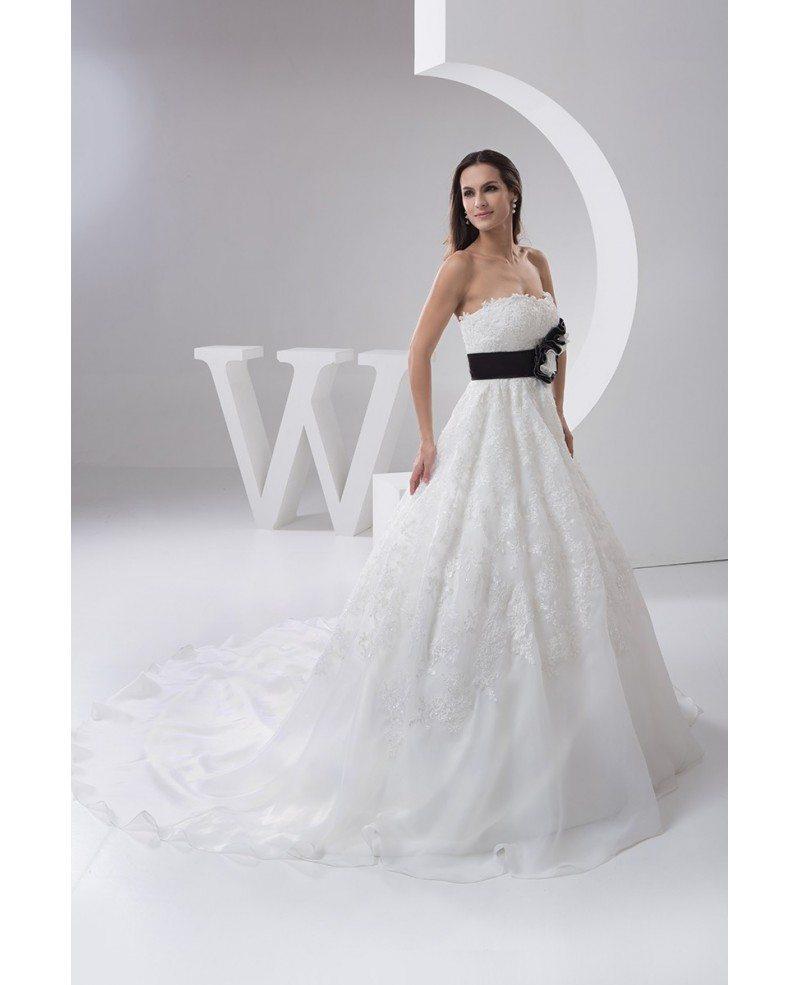 Strapless beaded lace ballgown wedding dress with color for Floral wedding dresses with color