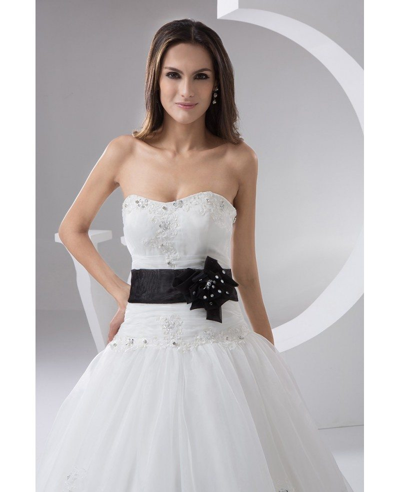White with black sash long tulle wedding dress with for Wedding sashes for dresses