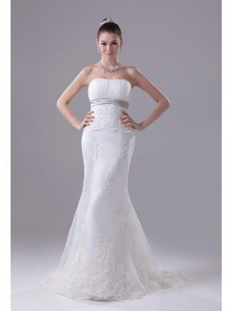 Strapless Empire Waist Mermaid Organza Lace Wedding Dress