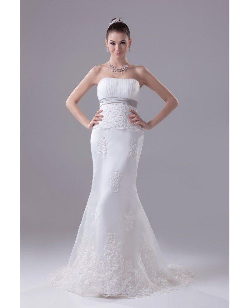 Strapless Empire Waist Mermaid Organza Lace Wedding Dress #OPH1144 ...