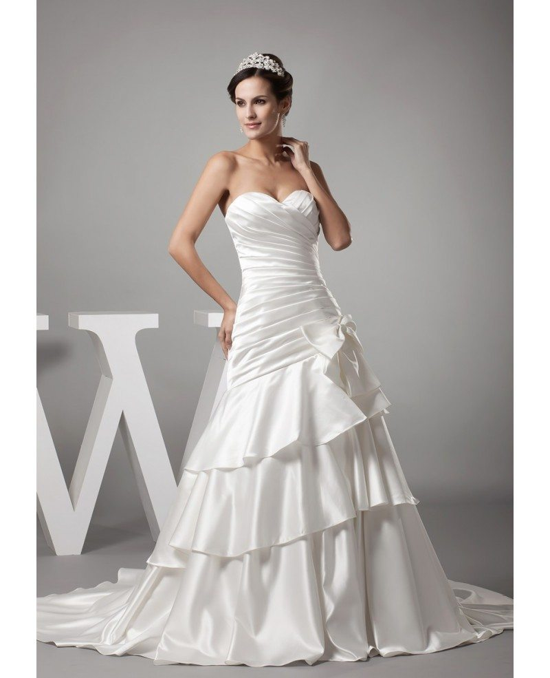 Sweetheart pleated satin layered mermaid wedding dress with bow ombrellifo Choice Image