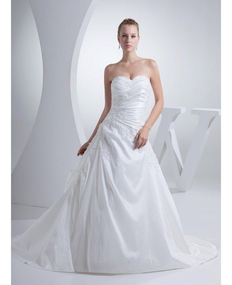 Pure White Pleated Taffeta Lace Wedding Dress Sweetheart #OPH1168 ...