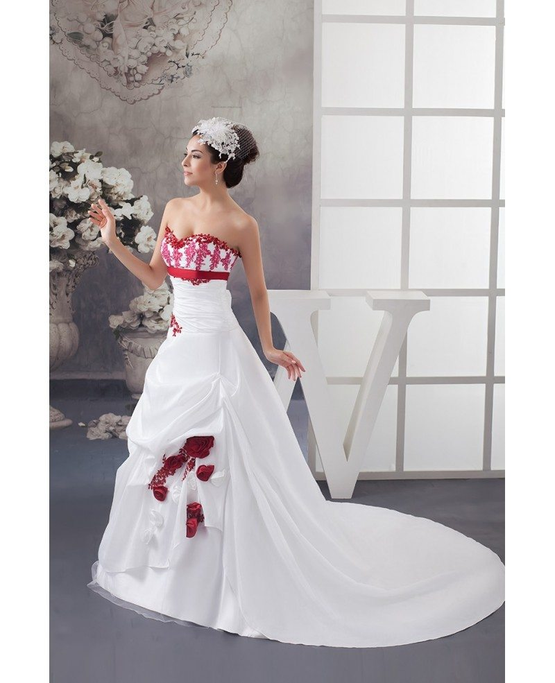 Red And White Wedding Dresses: White And Red Flowers Taffeta Lace Color Wedding Dress