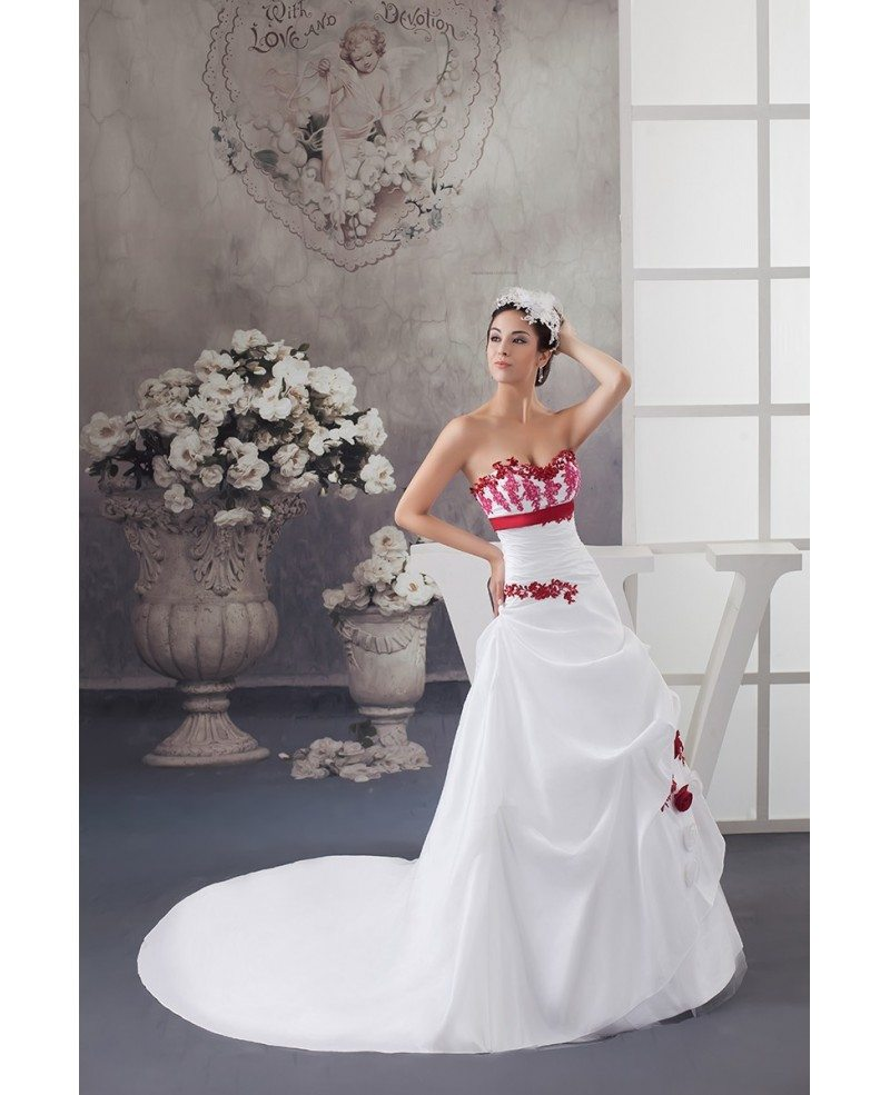 White and red flowers taffeta lace color wedding dress for Wedding dress with red flowers