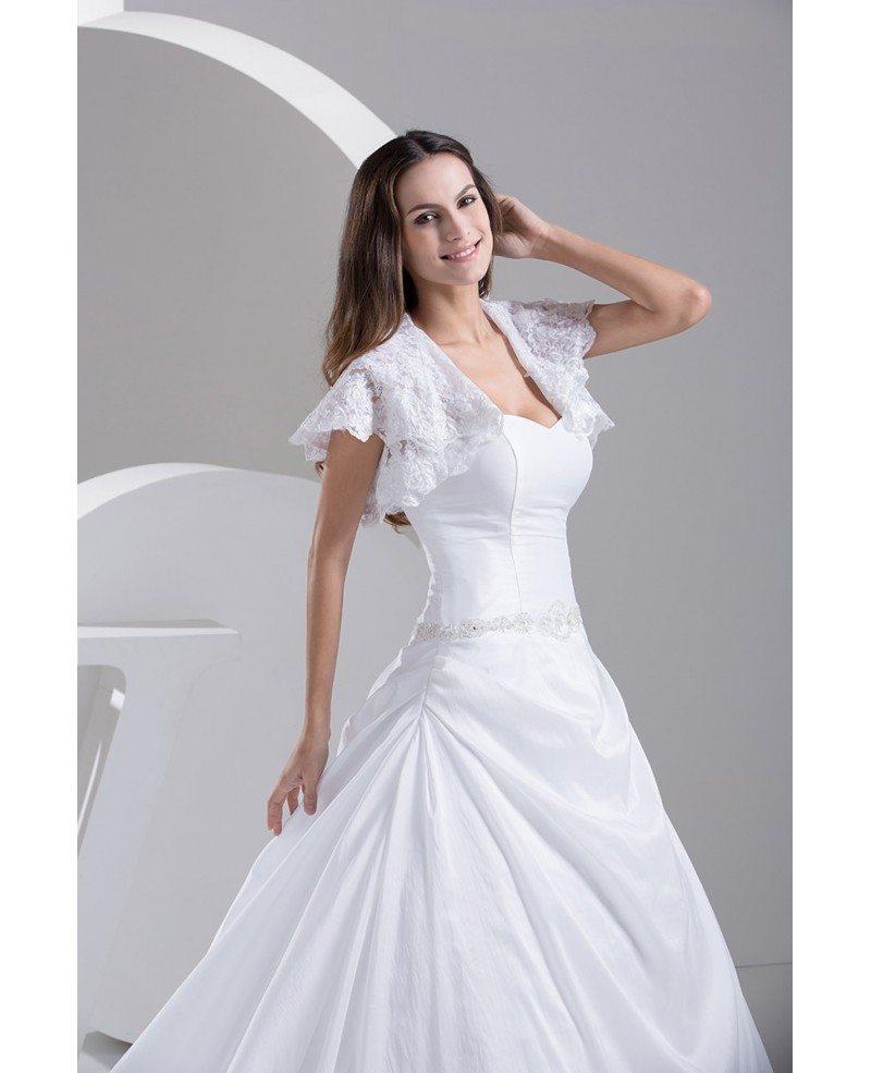 Sweetheart Lace Wedding Dress: Traditional Taffeta Sweetheart Ballgown Wedding Dress With