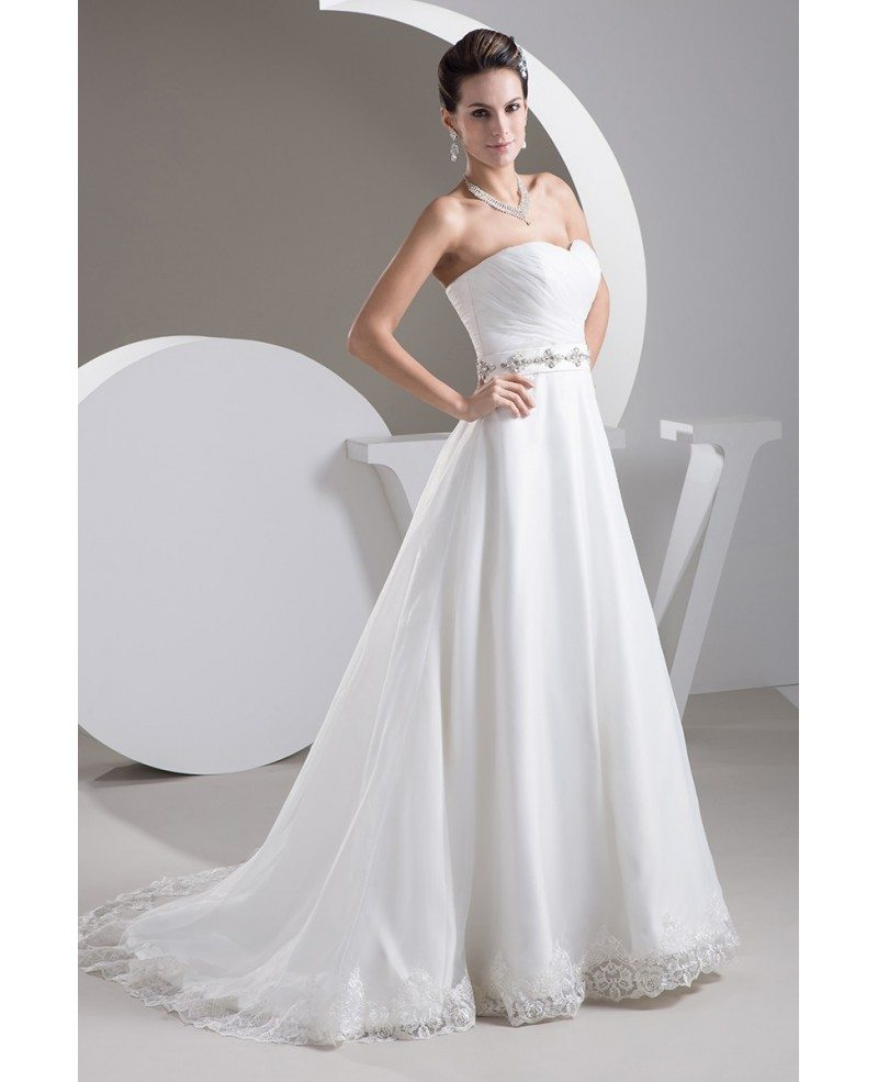 Aline Wedding Gown: Aline Lace Trim Sweetheart Wedding Dress With Beaded