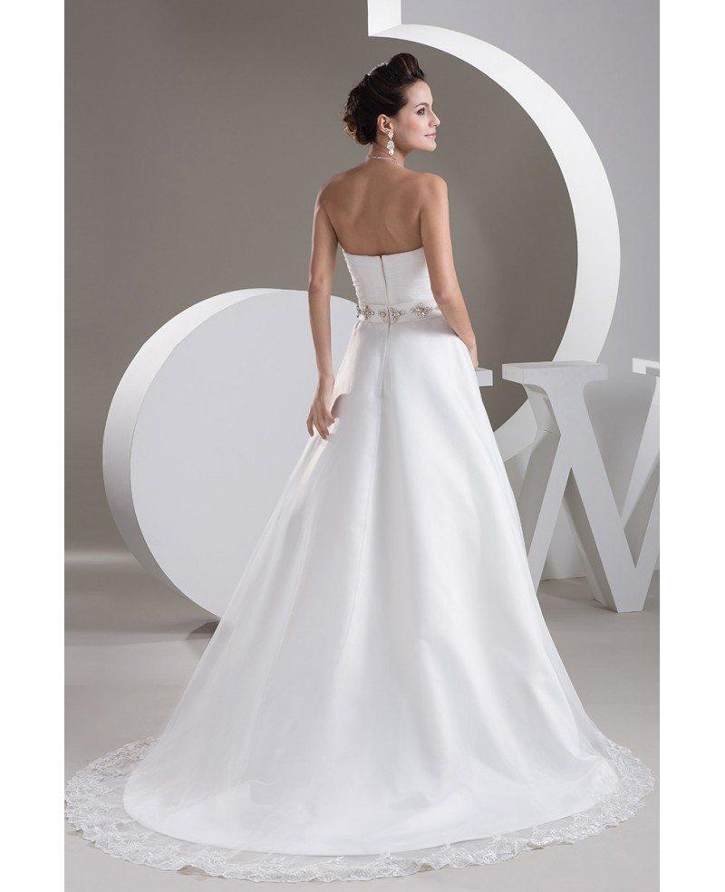 aline lace trim sweetheart wedding dress with beaded