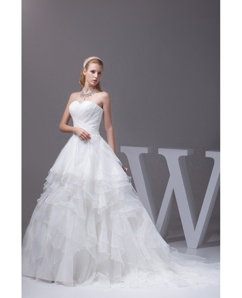 Sweetheart cascading ruffles pleated wedding dress with for Sweetheart corset wedding dress