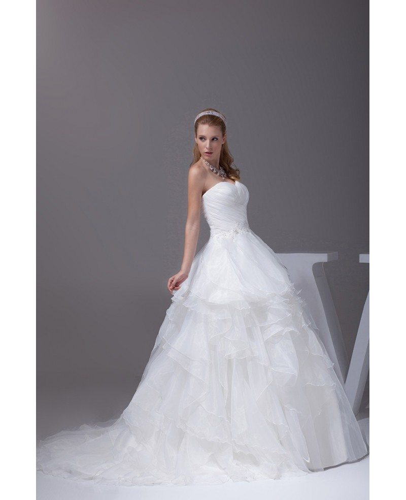 Sweetheart cascading ruffles pleated wedding dress with for Cascading ruffles wedding dress