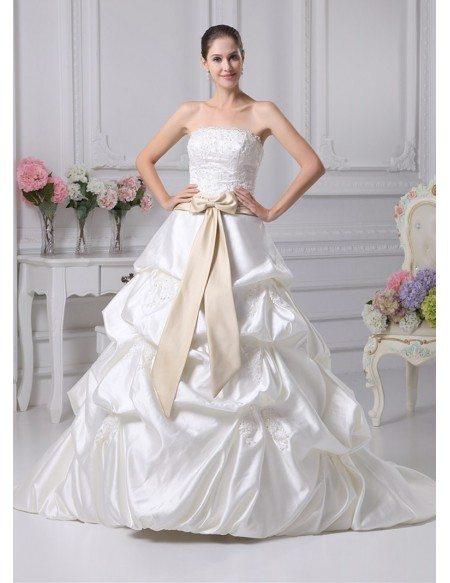 Grace Love Clic Beaded Taffeta Strapless White With Champagne Sash Wedding Dress
