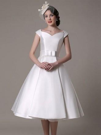 Vintage A-line V-neck Tea-length Satin Wedding Dress With Cap Sleeve