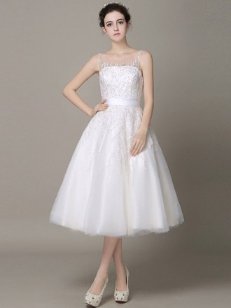Stylish A-line Scoop Neck Tea-length Tulle Wedding Dress With Open Back