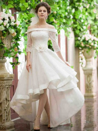 Chic A-line Off-the-shoulder Asymmetrical Organza Wedding Dress With Lace Sleeve