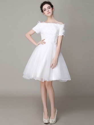 Chic A-line Off-the-shoulder Short Organza Wedding Dress With Short Sleeve