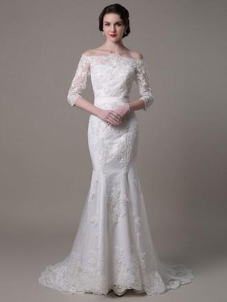Elegant Mermaid Off-the-shoulder Sweep Train Lace Wedding Dress With Sleeves