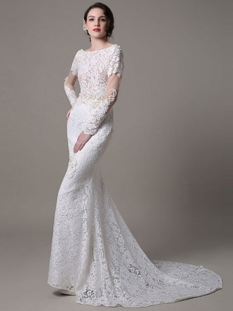 Elegant Mermaid High Neck Sweep Train Lace Wedding Dress With Long Sleeve
