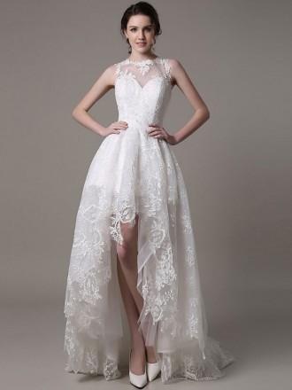 Chic A-line High Neck Asymmetrical Lace Wedding Dress