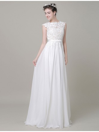Boho A-line High Neck Floor-length Chiffon Wedding Dress With Open Back