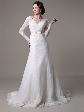 Graceful Mermaid V-neck Court Train Lace Wedding Dress With Long Sleeve