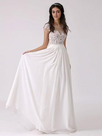 Boho A-line Scoop Neck Floor-length Chiffon Wedding Dress With Open Back