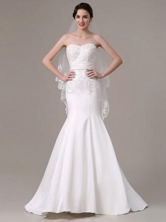Elegant Mermaid Sweetheart Sweep Train Satin Wedding Dress With Beading
