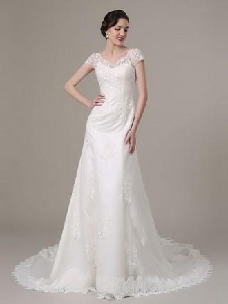 Modest Mermaid V-neck Court Train Lace Tulle Wedding Dress With Short Sleeve