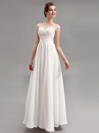 Simple A-line Scoop Neck Floor-length Chiffon Wedding Dress With Cap Sleeve