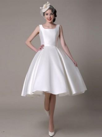 Vintage A-line Square Neckline Tea-length Satin Wedding Dress With Open Back