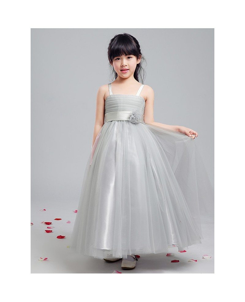 Long Grey Tulle Folded Flower Girl Dress With Bow Sash