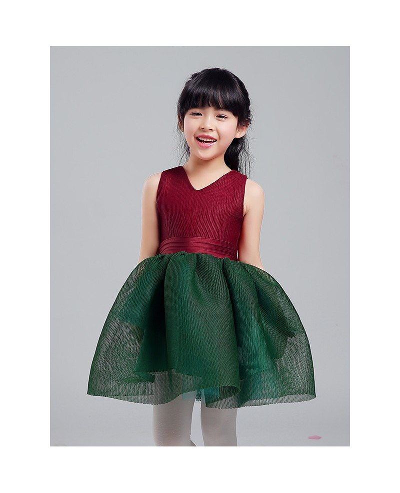 Green and Red Mesh Gown Pageant Dress for Little Girls - GemGrace