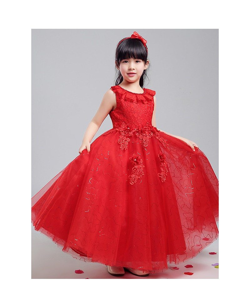 Tulle Sequined Long Red Ballroom Flower Girl Dress with Lace Bodice ...