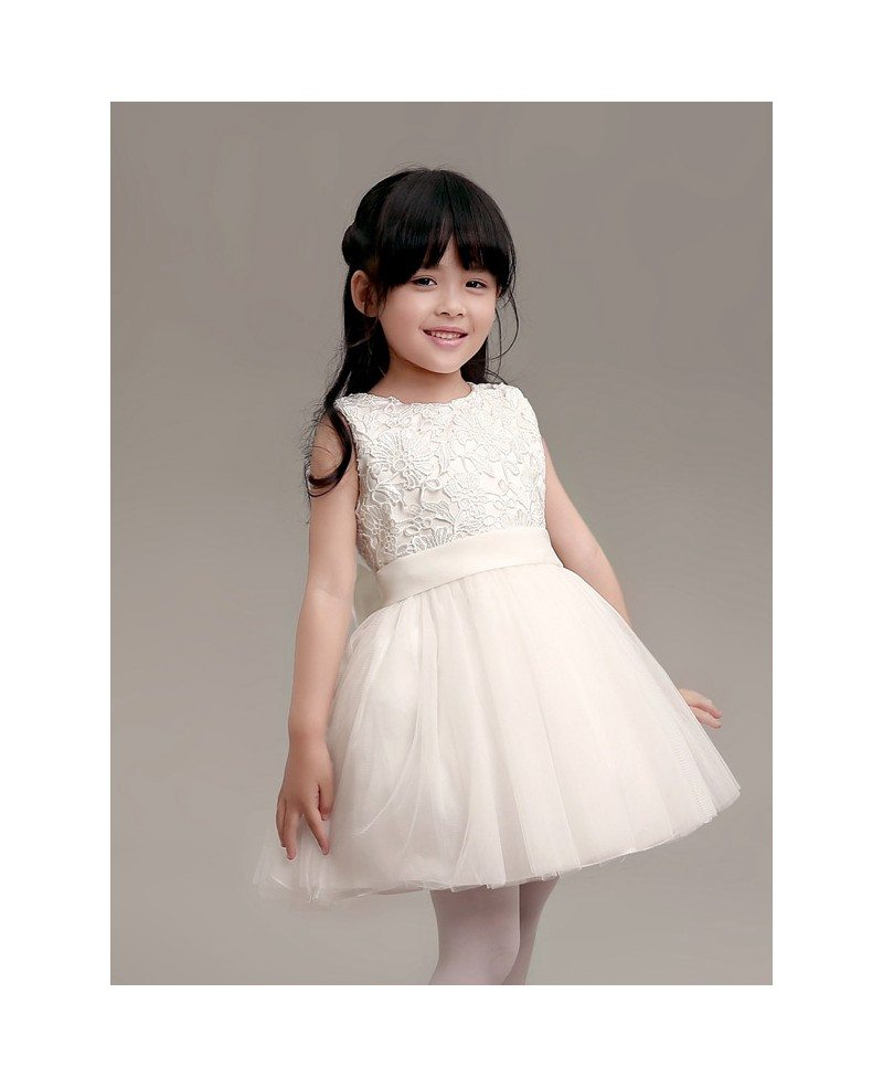 Simple white tulle and lace flower girl dress in short length gemgrace simple white tulle and lace flower girl dress in short length mightylinksfo