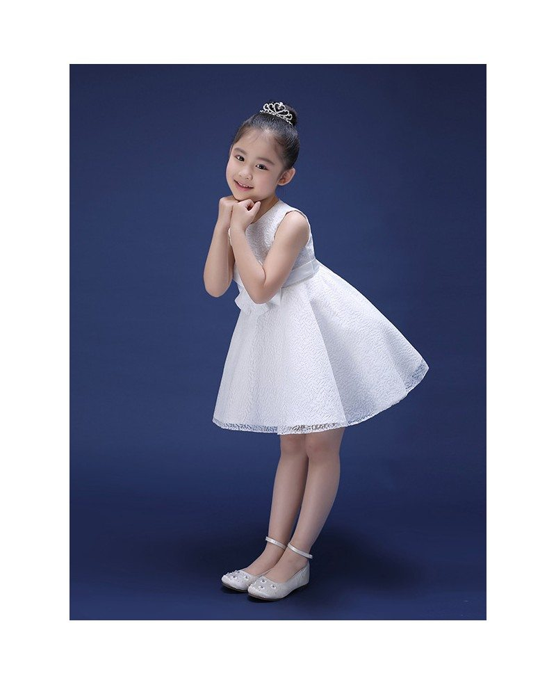 Little White Simple Lace Flower Girl Dress With Sash Gemgrace