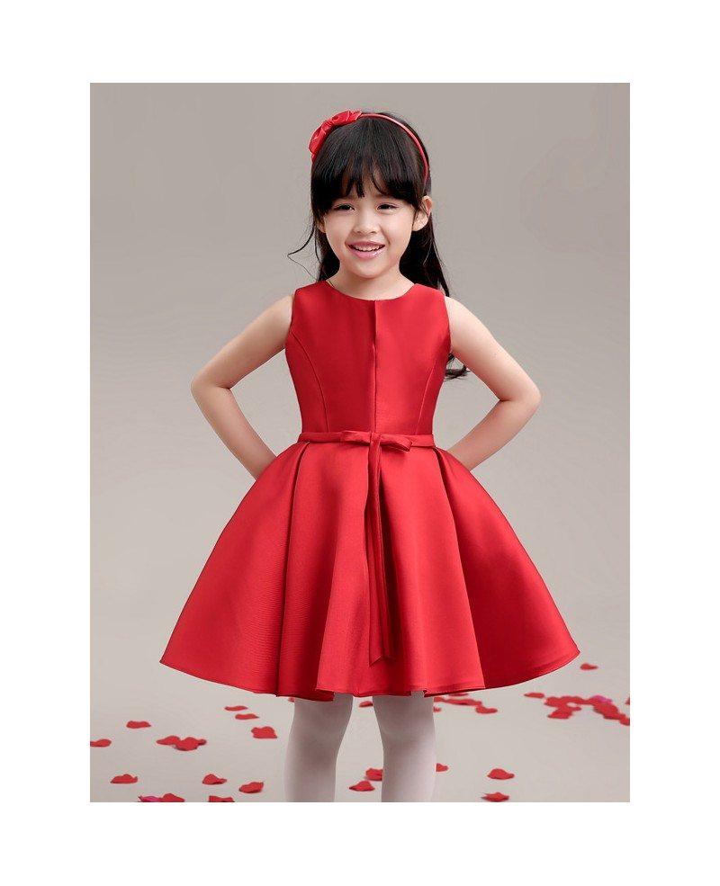 Hot Red Simple Satin Flower Girl Dress - GemGrace