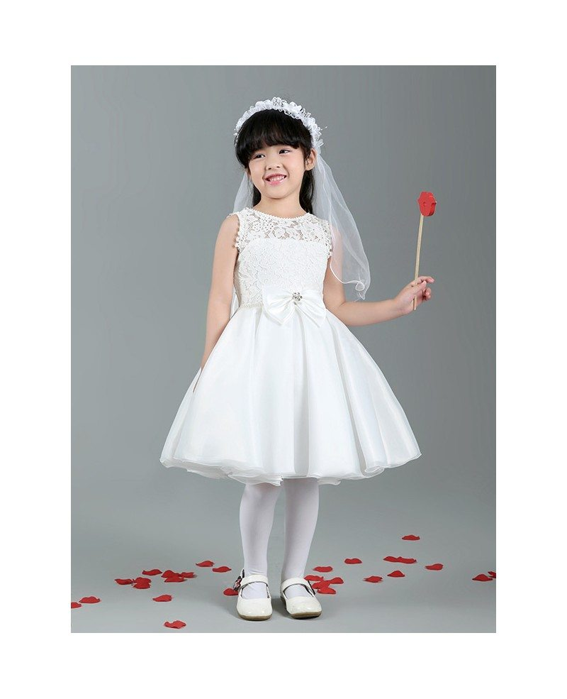 Short White Lace Satin Ball Gown Flower Girl Dress With Bows Gemgrace